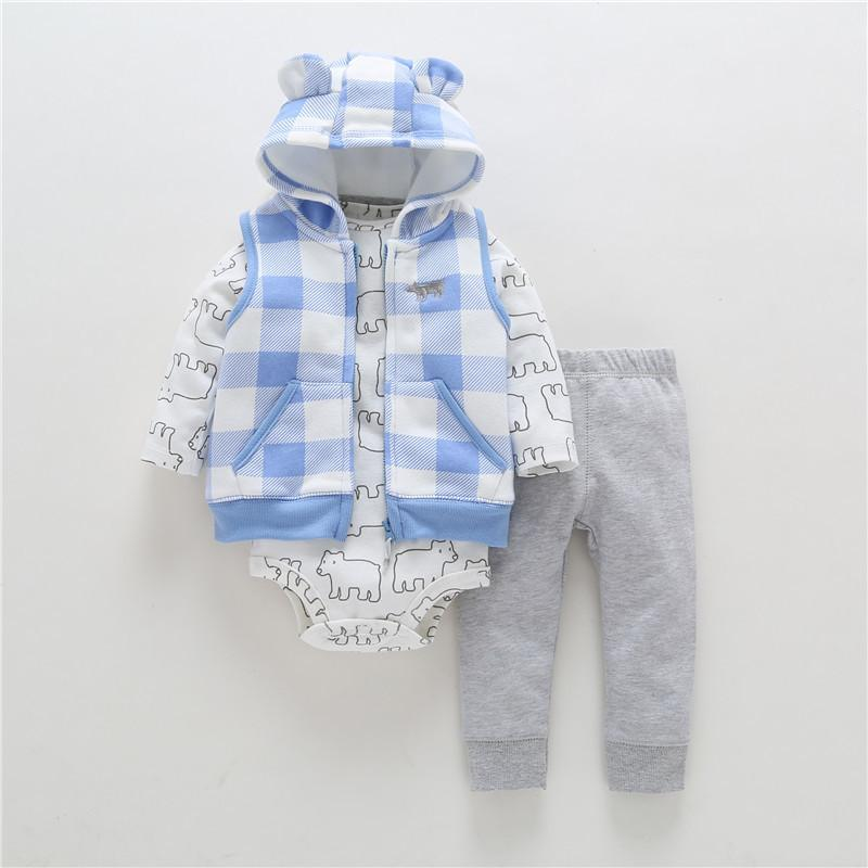 8a3278f9702ac 2019 Hot Sale Spring Autumn Kids Baby Boy Clothing Suit Long Sleeve Bear  Model Zipper Hooded+rompers+pant Winter Warm Clothes J190427