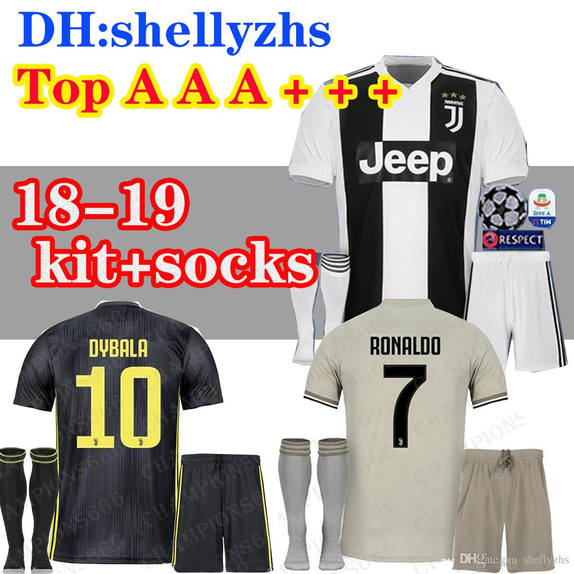 c875feaa622 18 19 kids Juventus RONALDO soccer Jersey Kits+socks 2018 2019 MARCHISIO  DYBALA HIGUAIN DANI ALVES PJANIC Marchisio child Football Shirt