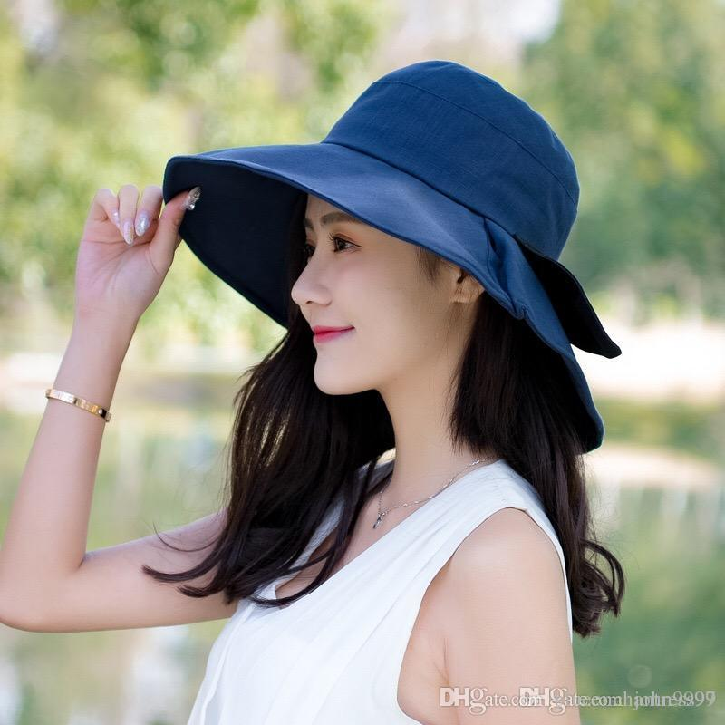 2018 New Bow Big Hat Ladies Summer Travel Sunscreen Visor Hat ... 8f9bdd4d2a2