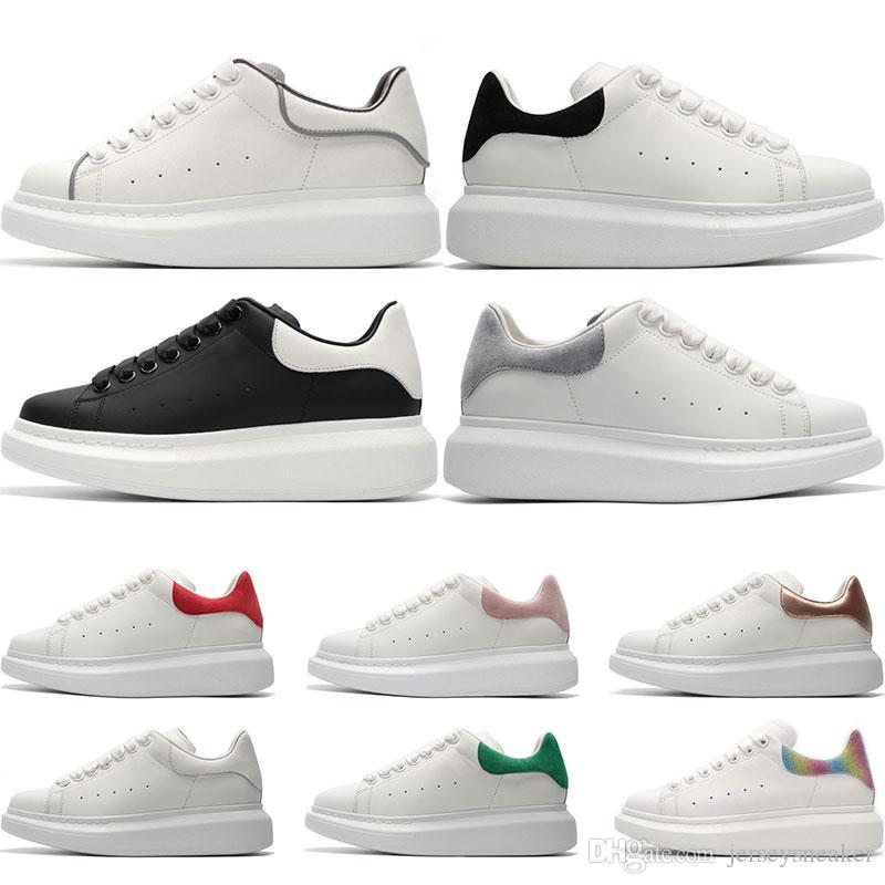 best authentic 40d50 b6bfa ... Blanc En Cuir Casual Chaussures Fille Femmes Hommes Noir Or Rouge Rose  Mode Confortable Plat Sneaker Taille 36 44 De  74.12 Du Jerseysneaker    DHgate.