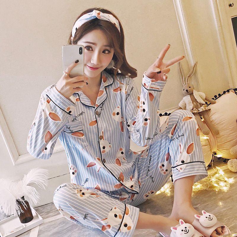 55db07bd0 Compre Bonito Dos Desenhos Animados Pijamas Mulheres Fino Pijama De Manga  Longa Set Sexy Stripe Tops + Calças Treino Feminino Noite Casa Sleepwear  Terno De ...