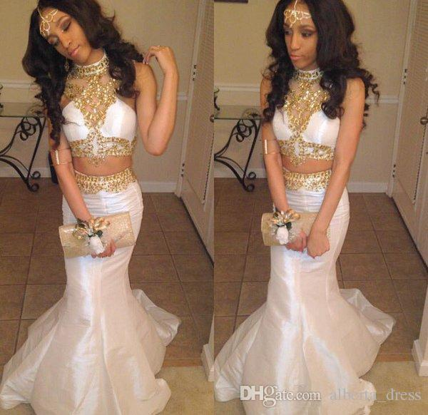 2019 Sexy Black Girl Two Pieces Mermaid Prom Dresses White Gold Beaded Rhinestones Prom Evening Dresses Long Party Dresses
