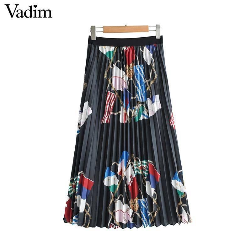 a89c25773fe6a Vadim Women Retro Chains Print Pleated Skirt Faldas Mujer Elastic Waist  Vintage Female Casual Chic Mid Calf Skirts Ba420 Y19043002
