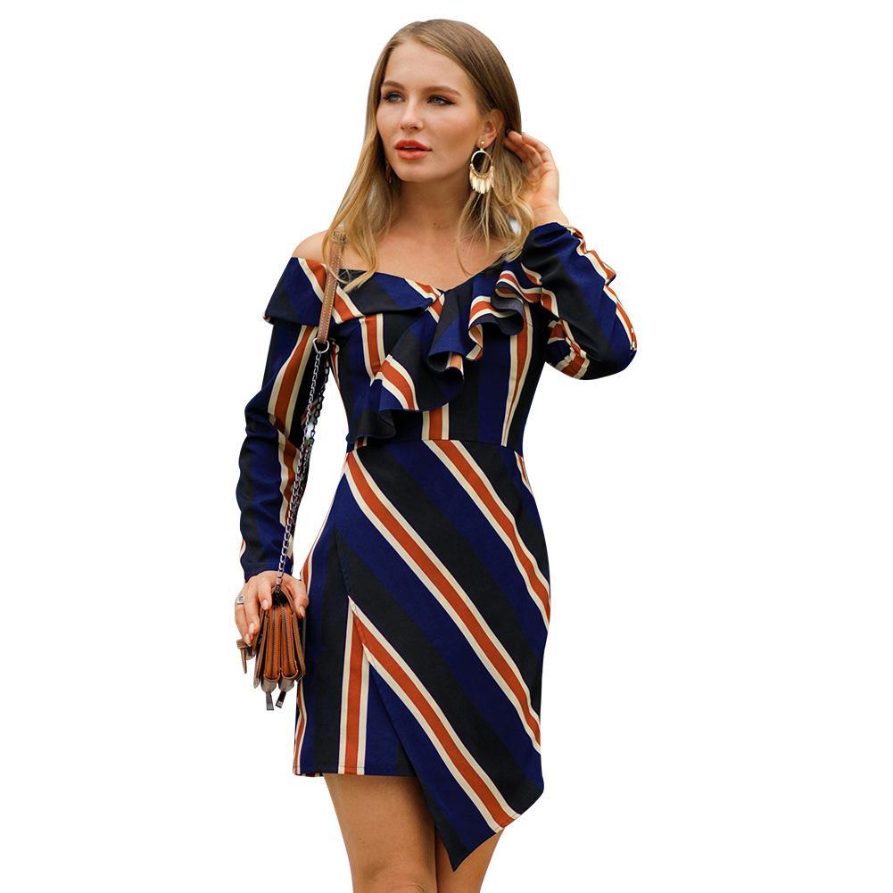 c0d9183ee55f Acquista Estate Autunno Moda Donna Manica Lunga Casual A Righe Ruffle Mini  Dress Abiti Corti Eleganti Blu Navy S XL C3100 A  18.1 Dal Jiehan shop
