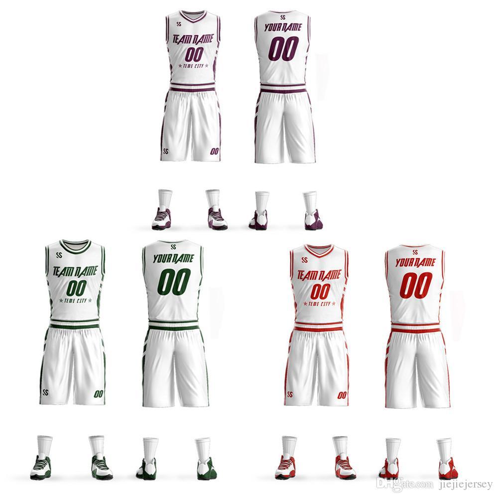 7ae3ea52b0c 2019 Cheap Custom DIY Basketball Jerseys Set Uniforms Kits Mens Child Youth  Reversible Basketball Shirts Shorts Clothes Sportswear From Jiejiejersey