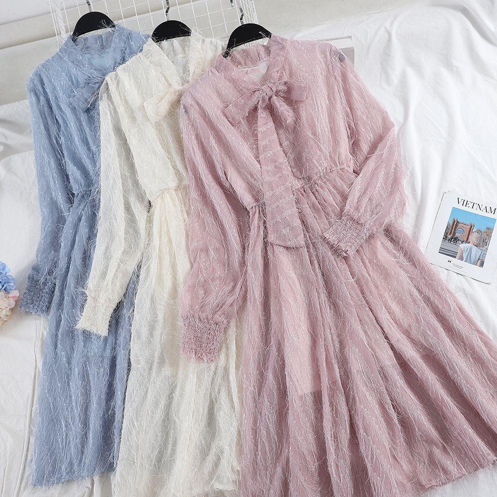 Women Long Sleeve Pleated Bow Dress Korea Japan Slim Waist Tassels