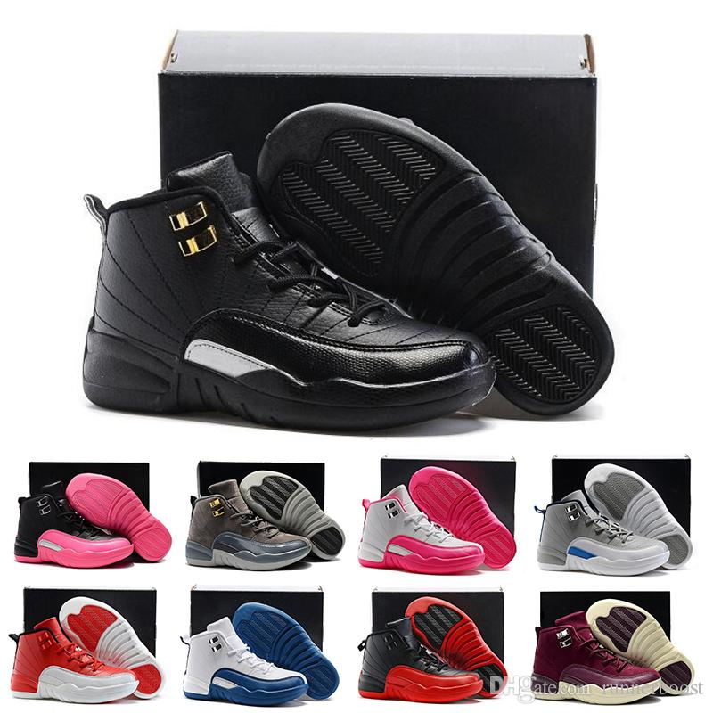 the best attitude 2e550 72932 12 12s Kids Basketball Shoes For Boys Girls Gym Red Hyper Violet Purple  Children Pink White Blue Dark Grey Toddlers Designer Sports Sneakers