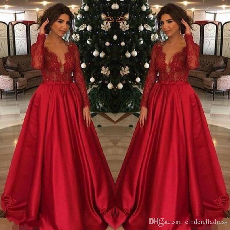 b7796b7816 Compre Rojo Talla Grande Madre De La Novia Vestidos Encaje Top Mangas  Largas Para Bodas Fiesta De Mujeres Vestidos De Noche Formales A  105.36 Del  ...
