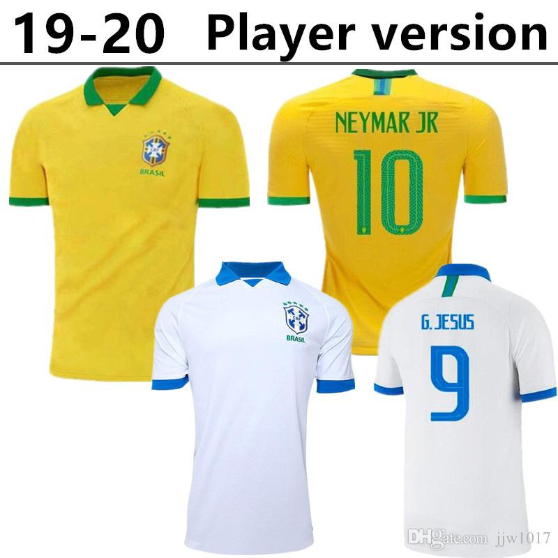 low priced f886c bb4a0 Player version 2019 2020 Casemiro Brazil home soccer jerseys custom G.Jesus  P.Coutinho Marcelo Willian Firmino football shirts