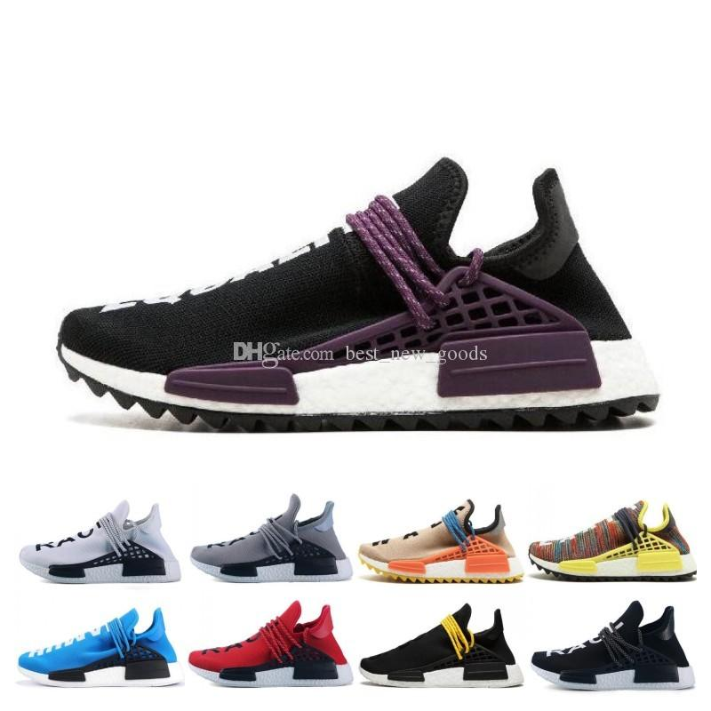 low priced 23df7 117d0 2019 Human race Hu trail x pharrell williams Nerd men running shoes white  Black yellow lace Equality mens trainers for women sports sneaker
