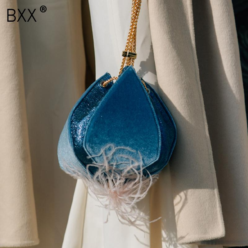 [BXX] 2019 Special Design Summer Woman Personality Velvet Feather Tassel Lantern Shape Bag Female All-match Day Clutches LI624