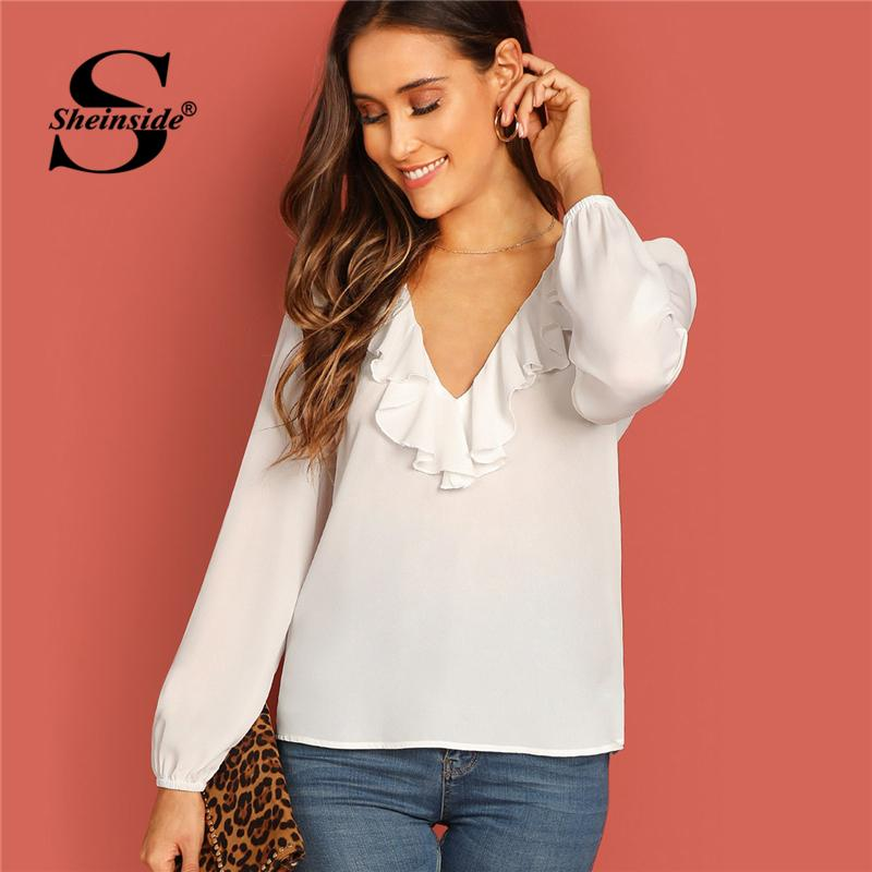 effea4d2895bda 2019 Sheinside V Neck Ruffle Trim White Blouse Women Top 2019 Spring Summer  Fashion Long Sleeve Female Tops Solid Elegant Blouses From Florence33
