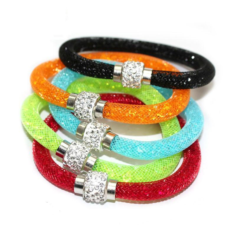 Top Austrian Crystal Beads wrap Bracelets Shining Micro Elements Mesh chain Charms Magnetic Clasp Bangles For women men Jewelry in Bulk