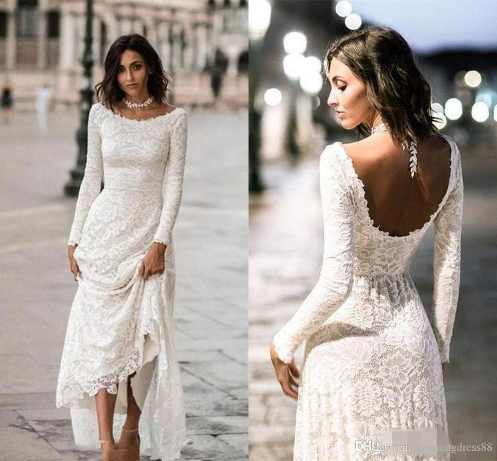 0c91e0d056 Vintage Designer Cheap Wedding Dresses Long Sleeves Open Back 2019 Lace  Bodice Sweep Train For Bride Wedding Dress Bridal Gowns Cheap