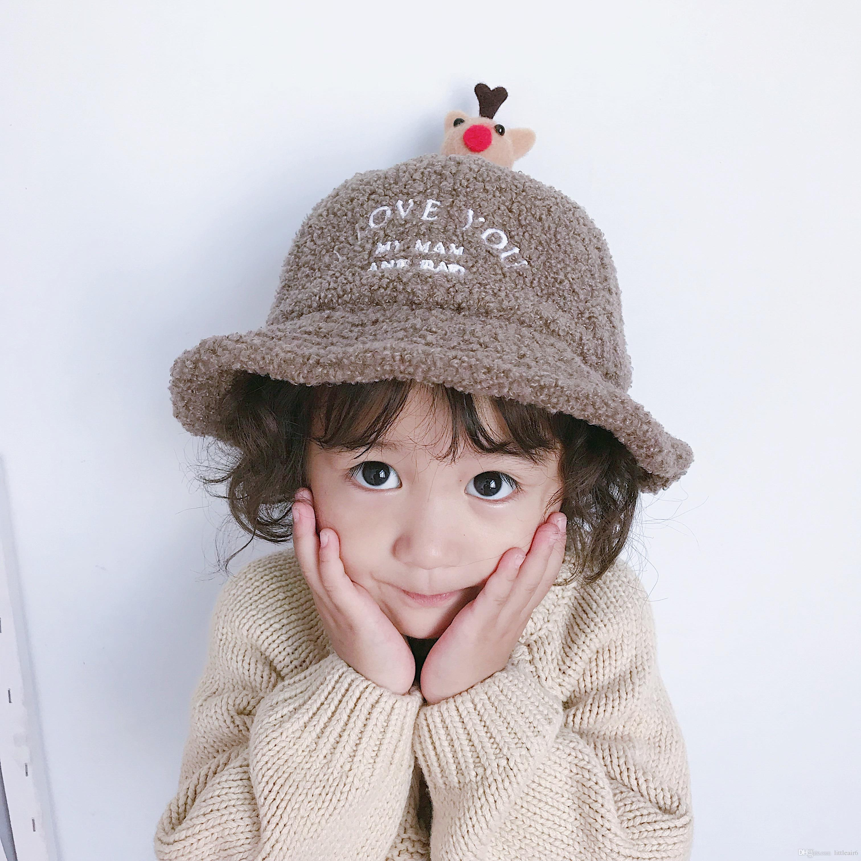 95d72e72b68 2019 Bucket Hats For Baby Boys Or Girls Autumn Winter Children Warm Hats  Thickened Wool Princess Cute Lovely From Littleair6