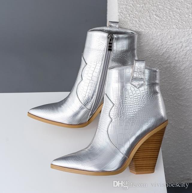 Petite grande taille 33 à 42 à 48 bottes de cow-boy d'or à la mode bottines gros talon d'hiver ajouter plusieurs couleurs en peluche 10cm