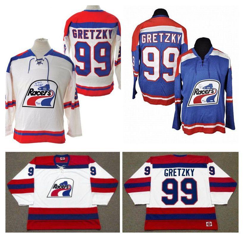 Custom #99 Wayne Gretzky WHA Indianapolis Racers Jersey Navy Blue White  1978-79 Vintage 100% Stitched any number name Ice Hockey Jersey