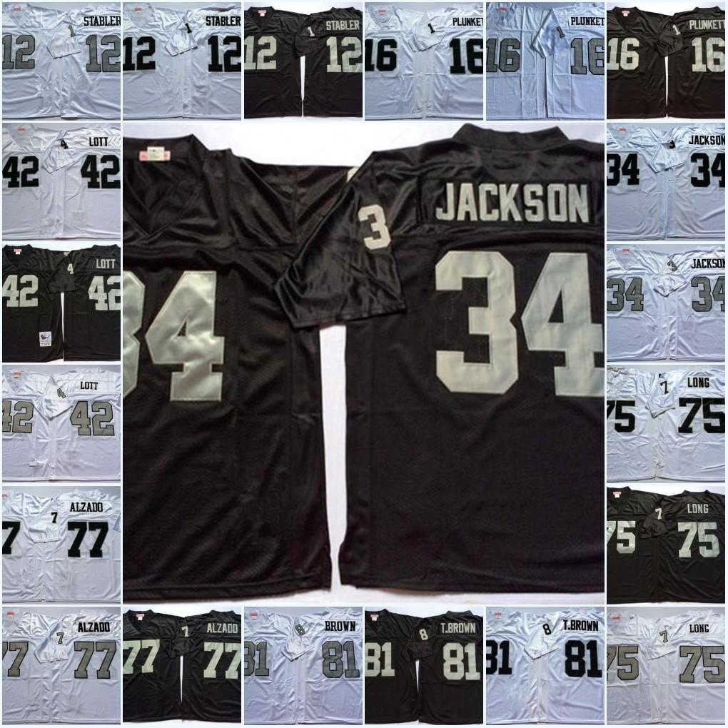 super popular a5e7b c69b1 Mens NCAA Ken Stabler Jim Plunkett Bo JACKSON Jersey #42 Ronnie Lott 75  Howie Long 77 Lyle Alzado 81 Tim Brown Vintage Football Jersey