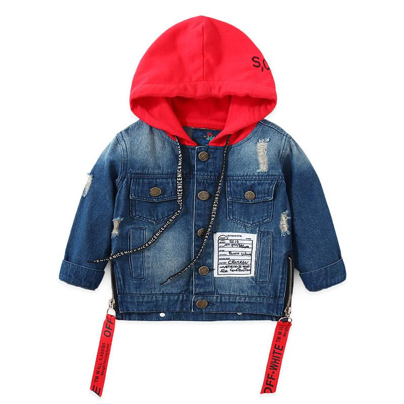 e166ad31e Baby Boys Girls Jacket 2019 Spring Autumn Toddler Denim Jacket Kids Ribbon  Zipper Hooded Coat Children Clothes 2 3 4 5 6 Years
