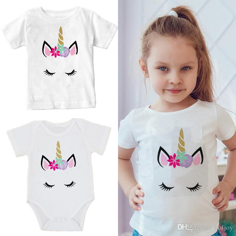 b8248ccdbddaf Baby Girl Clothes New Print Flower Unicorn infant t-shirt Summer Fashion 1  Cotton Short sleeve Kids Tops Clothes