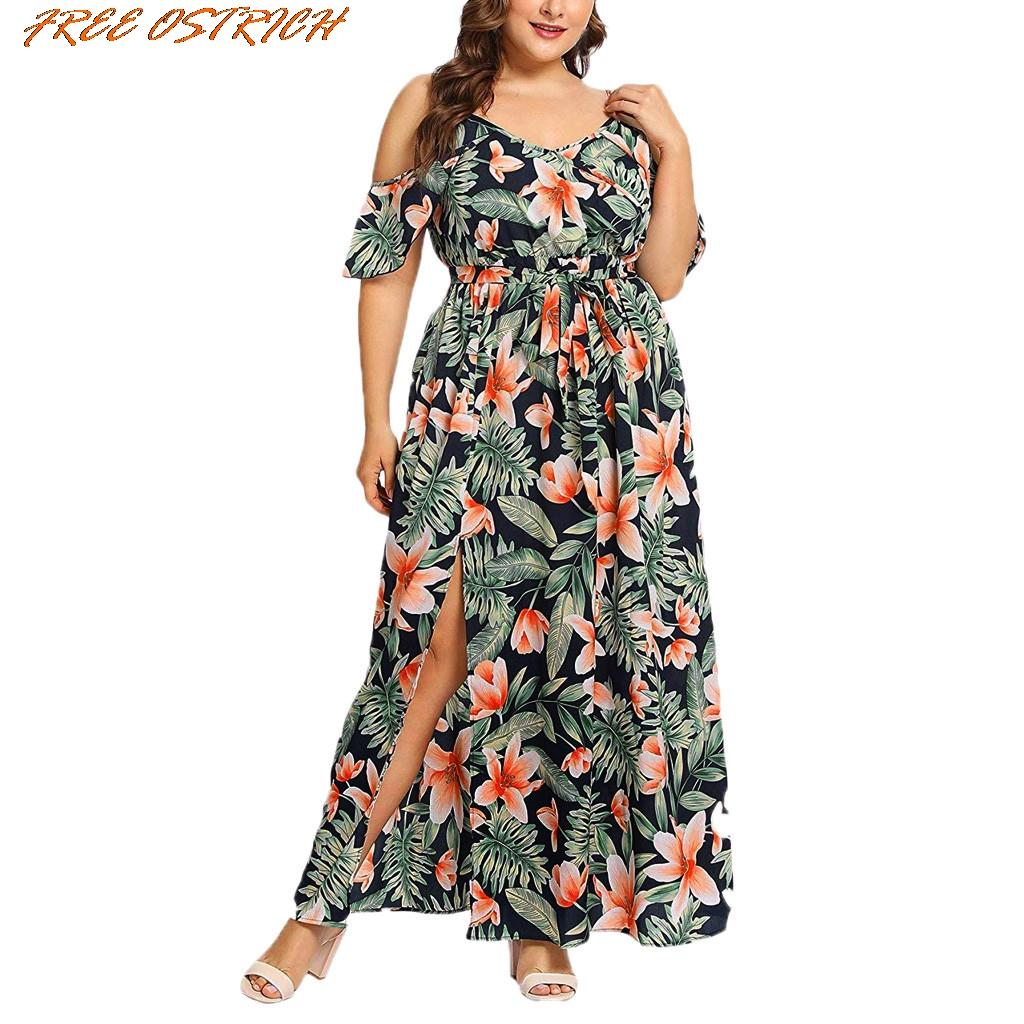 ab6ed65f27dda FREE OSTRICH Women Plus Size Short Sleeve Casual Bohemian Ruffled Banded  Long Dress Women Dresses Free Shipping Lady Dresses
