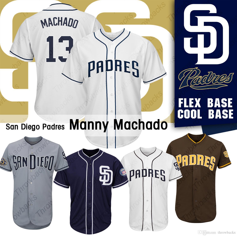 69b5c680008 2019 San Diego 2019 Padres Jerseys Manny Machado Baseball Jersey Colour  Navy White Brown Gray Cool Base Flex Base From Throwbacks, $44.68    DHgate.Com