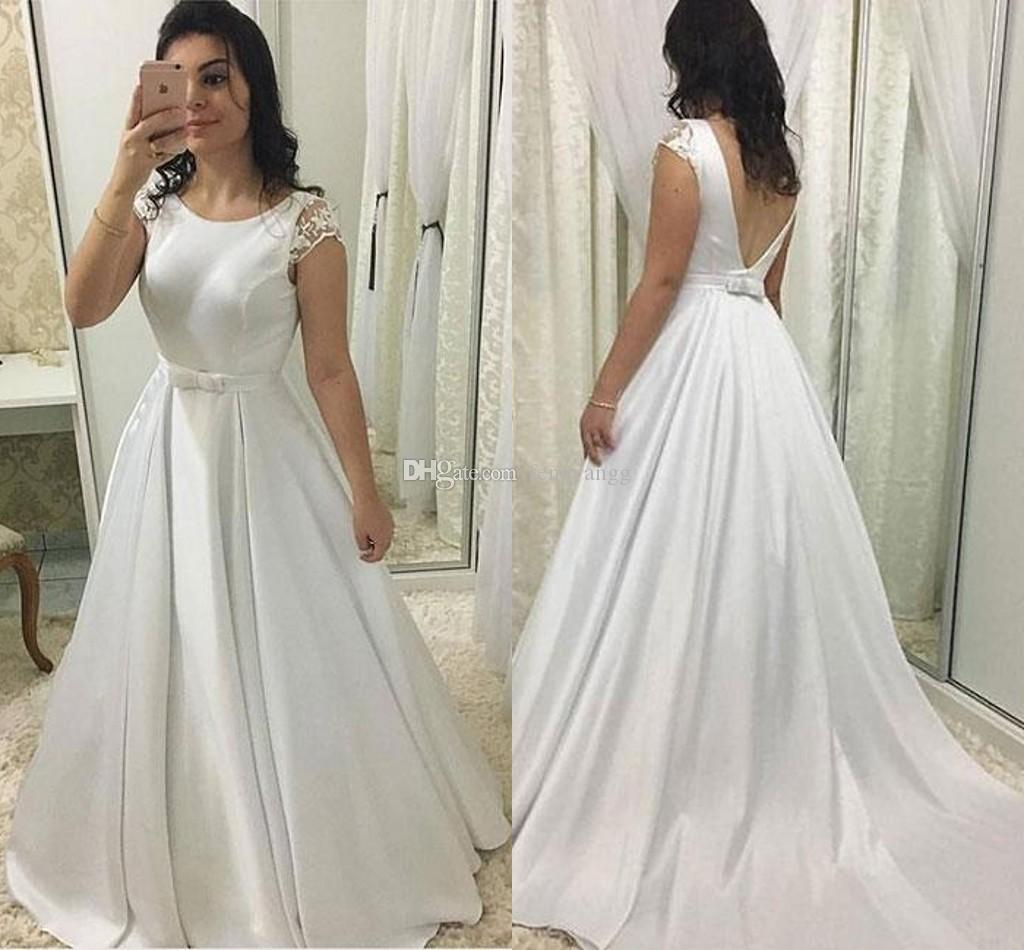 297c4089490 Discount 2019 Elegant Wedding Dresses With Lace Cap Sleeves Jewel Neck  Satin A Line Bridal Gowns Belt V Backless Sweep Train Simple Dress Custom  Made ...