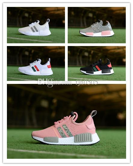 279545285 BoxChildren S Boys Girls NMD R1 Baby Kids Toddler Shoes White Red Pink Crystal  Sequins Trainers City Sock Sneakers Running Shoes Size28 35 Running Shoes  ...