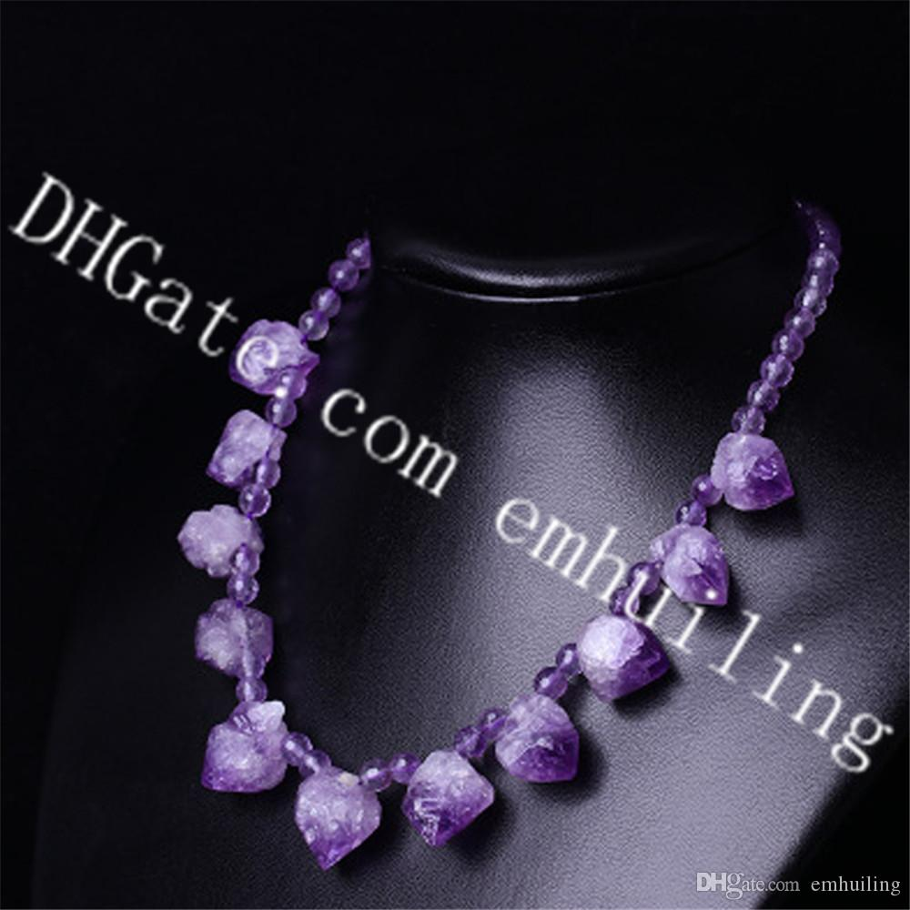 279c70cb03dd3 10Pcs Natural Freeform Raw Amethyst Point Stone Necklace with 6mm Faceted  Amethyst Crystal Beads February Birthstone Choker Necklace Jewelry