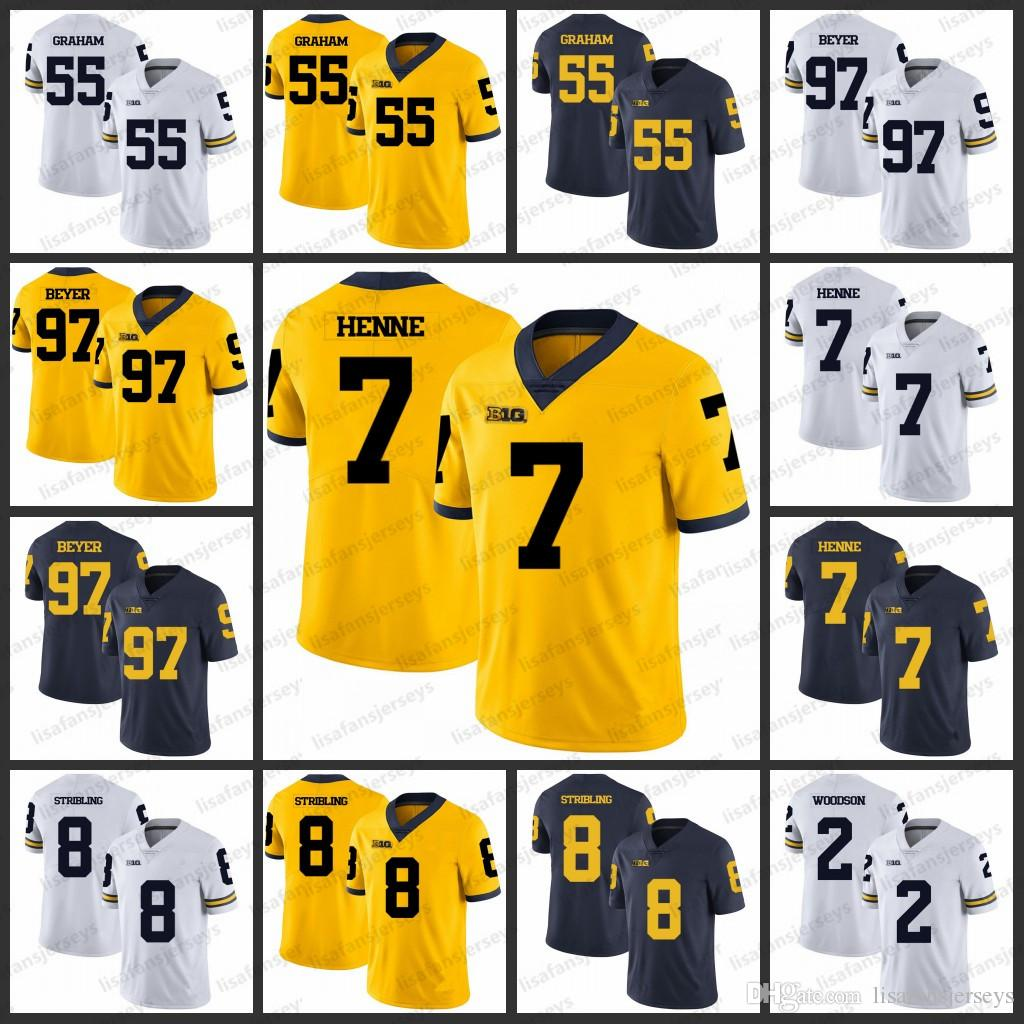 lowest price 7bde6 a40f2 Michigan Wolverines College Jerseys 55 Brandon Graham 97 Brennen Beyer Chad  Henne 8 Channing Stribling 2 Charles Woodson Football Jersey