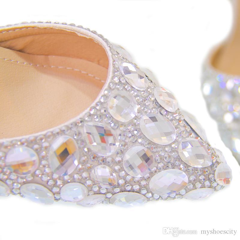 Plus size 33 34 to 40 41 42 Cinderella Rhinestone Wedding Shoes Luxury Women Designer Bridal Shoes 7cm Sexy High Heels