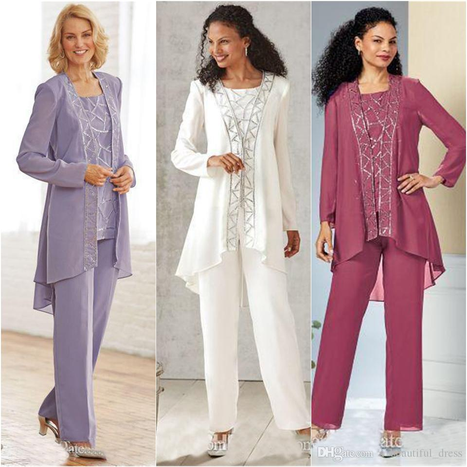 Lavender Beaded Mother Of The Bride Pant Suits Jewel Neck Sequined Formal Wedding Guest Dress With Jackets Plus Size Mothers Groom Outfit