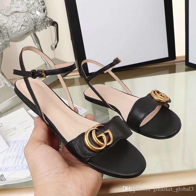 0990847f8860e New Women s Leather sandal Flat Sandals Luxury Designer Fashion Women s  Black Leather Flat Sandals Size 35-42