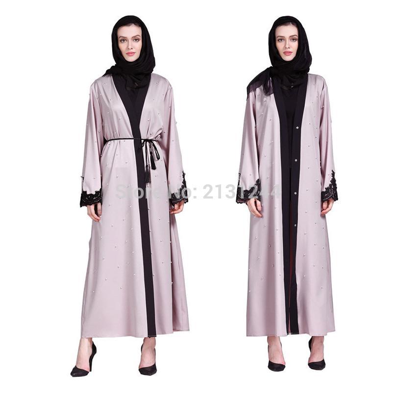 Acquista Abbigliamento Donna Mano Bordare Perline Patch Disegni Musulmano  Cardigan Abaya Abito Islamico Maxi Medio Oriente Caftano Turco Abito Kimono  A ... 5b36bf4b8db