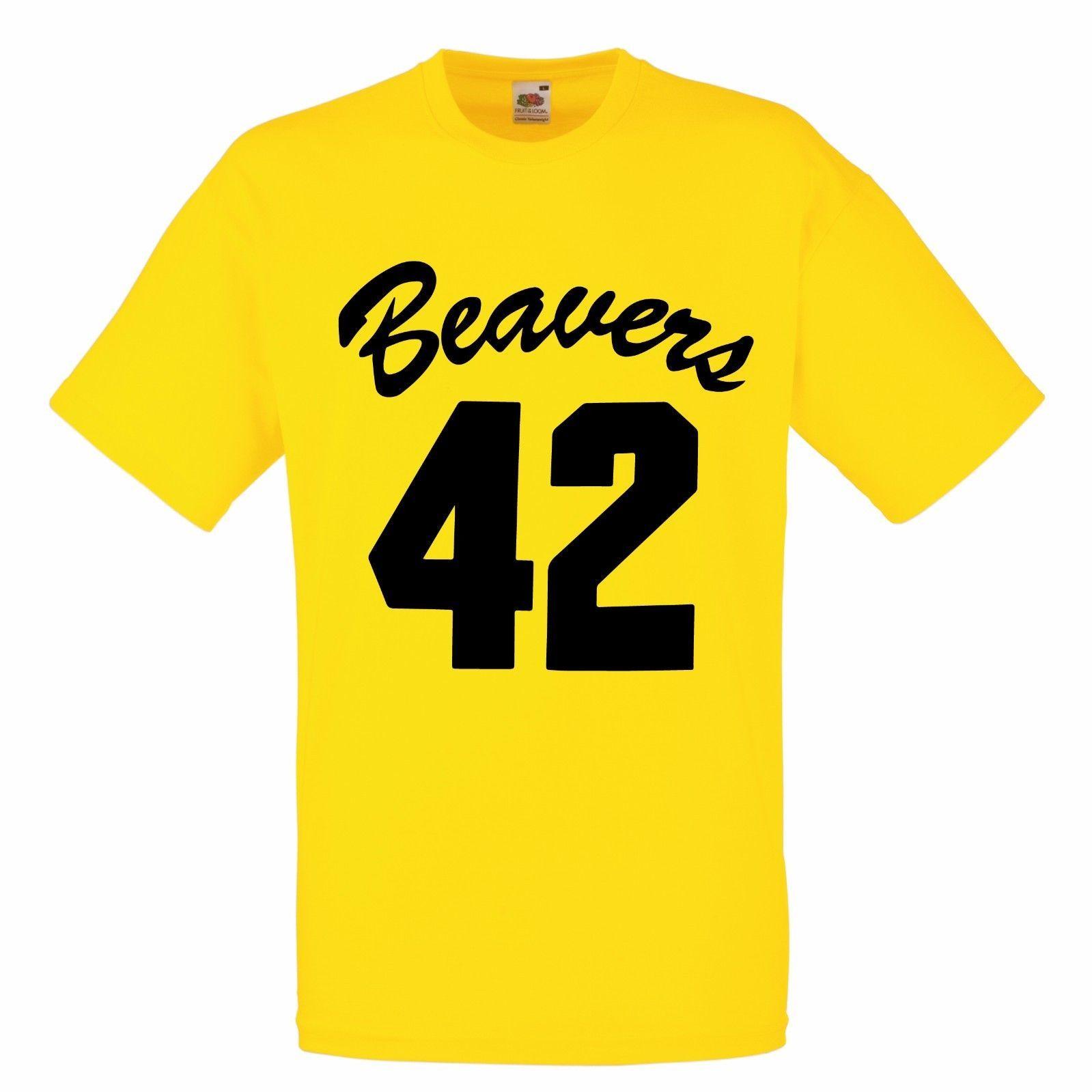 a827a3fb4bd1 Beavers 42 Yellow Basketball T Shirt Fancy Dress Howard Teen Wolf ...