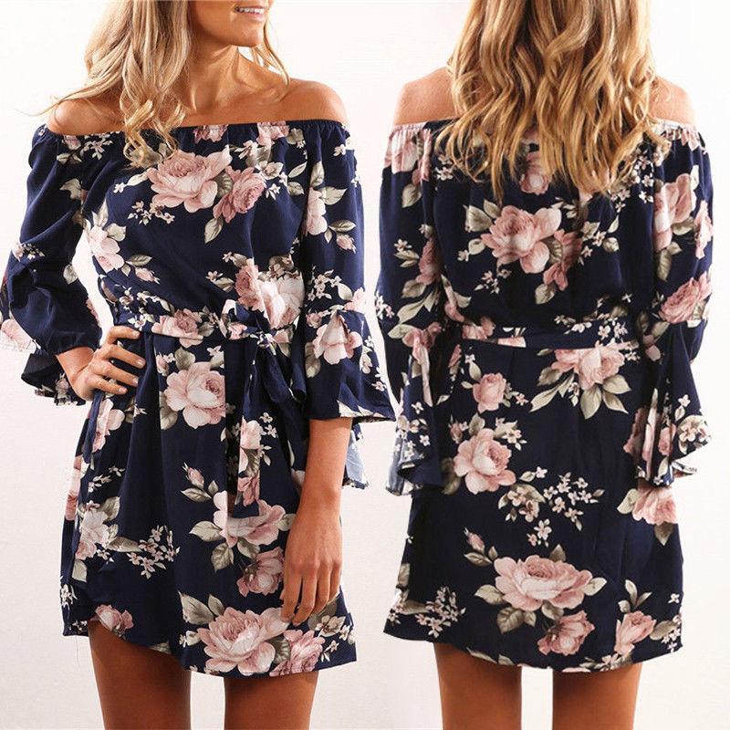 4476232b692c 2019 Sweet Boho Summer Women Dress Off Shoulder Long Sleeve Floral Print  Sashes Bow Belt A Line Mini Dress Party Dress Short Black Dresses Brides  Dresses ...