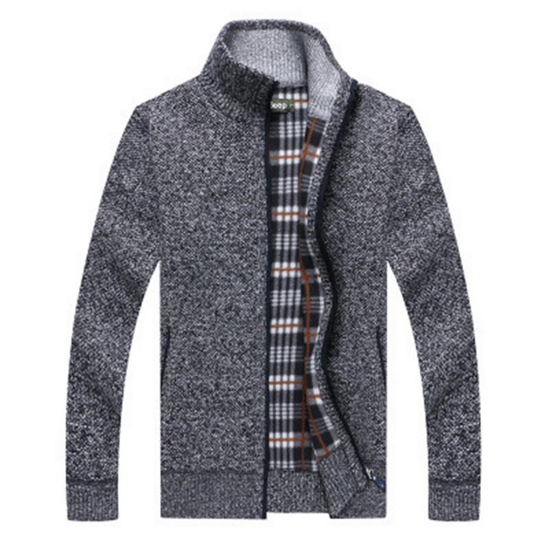 2019 Spring Winter Men's Sweater Coat Faux Fur Wool Sweater Jackets Men Zipper Knitted Thick Coat Casual Knitwear M-3XL