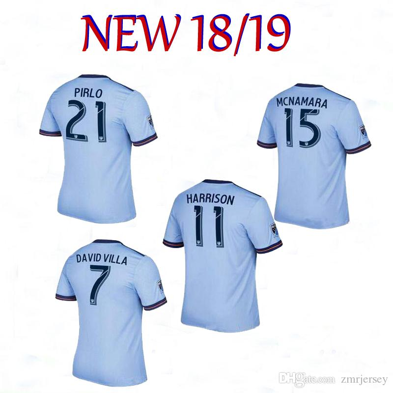 size 40 72ff3 ac37f Thai quality 2018 2019 New York city FC Soccer Jersey 18 19 MORALEZ DAVID  VILLA LAMPARD PIRLO Football jersey kit Home jersey