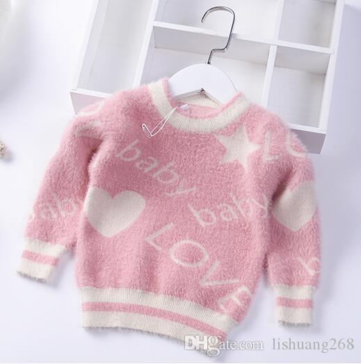 28e086d43 2019 Autumn Winter Girls Sweater Love Baby Pullover Water Mink ...
