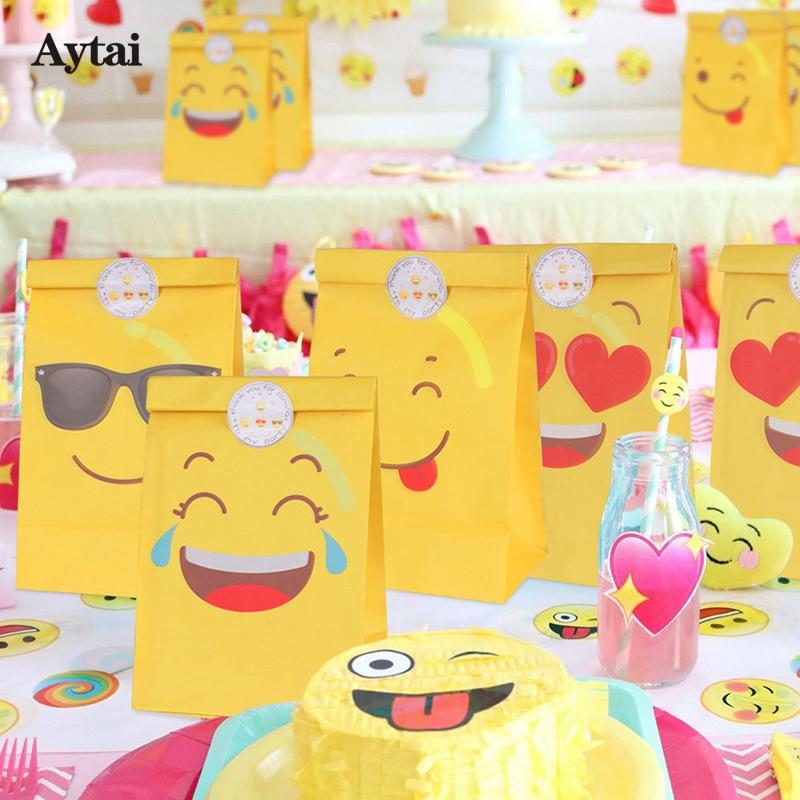 Aytai Emoji Party Cartoon Smiley Paper Bags With Stickers Children Birthday Gift Supplies Cry Smile C18112701 Kids Xmas Wrapping