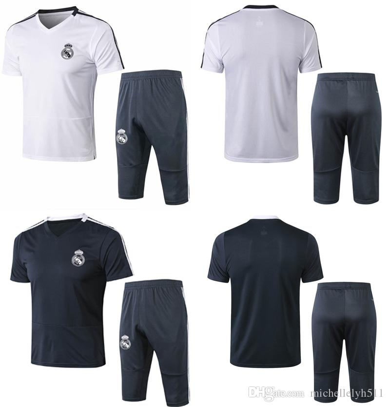 e2470c3e48e 2019 Real Madrid Football Tracksuit 18 19 Short Sleeve Soccer Training Kits  Men S Sports Jerseys 3 4 Pants Adult S Thai Quality Soccer Sets Suits From  ...