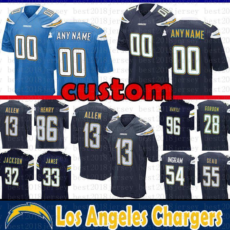 save off 95f94 8f4b3 85 Antonio Gates Los Angeles Custom Chargers Jersey 55 Junior Seau 86  Hunter Henry 28 Melvin Gordon 54 Melvin Ingram Jackson Havili Williams