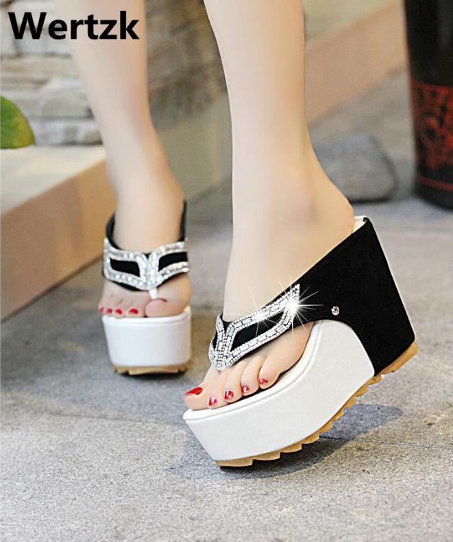 45b338ce8f28 Wertzk 2019 New Thick Bottom Platform Flip Flops Rhinestone Wedge Heel  Shoes Patchwork Woman Summer Sandals Slippers Women E249 Pink Shoes High  Heel Boots ...