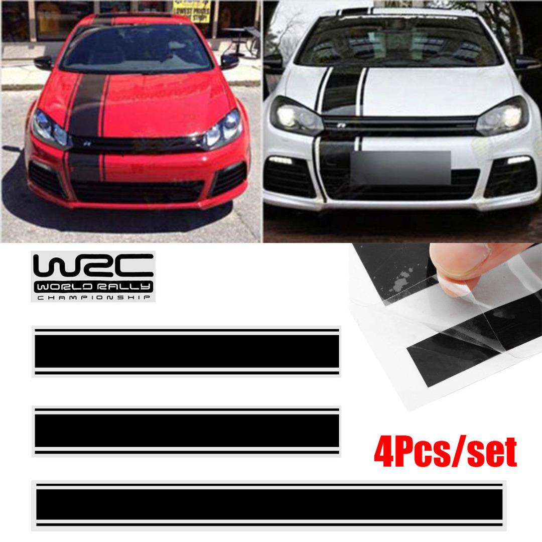 4pcs black waterproof car stickers car racing stripe vinyl sticker letter sticker decal kits for cover roof trunk door