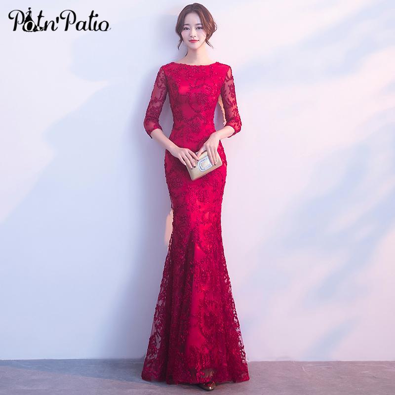 70bf9f62f Compre Vestidos De Fiesta De Sirena De Color Rojo Vino 2019 Vestidos De  Fiesta De Encaje Elegantes Largos Con Mangas Vestidos De Gala De Talla  Grande A ...