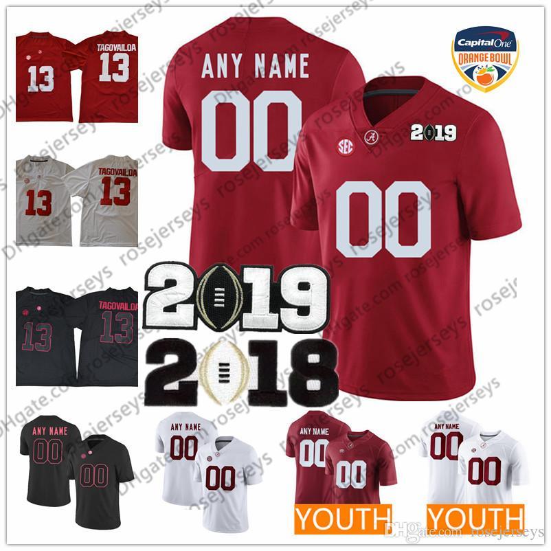6fbf80eb7 2019 Custom Alabama Crimson Tide Any Name Number 2019 NCAA Orange Bowl Red  White Tua Tagovailoa Taulia  5 Jeudy Waddle Men Youth Kid Jerseys From ...