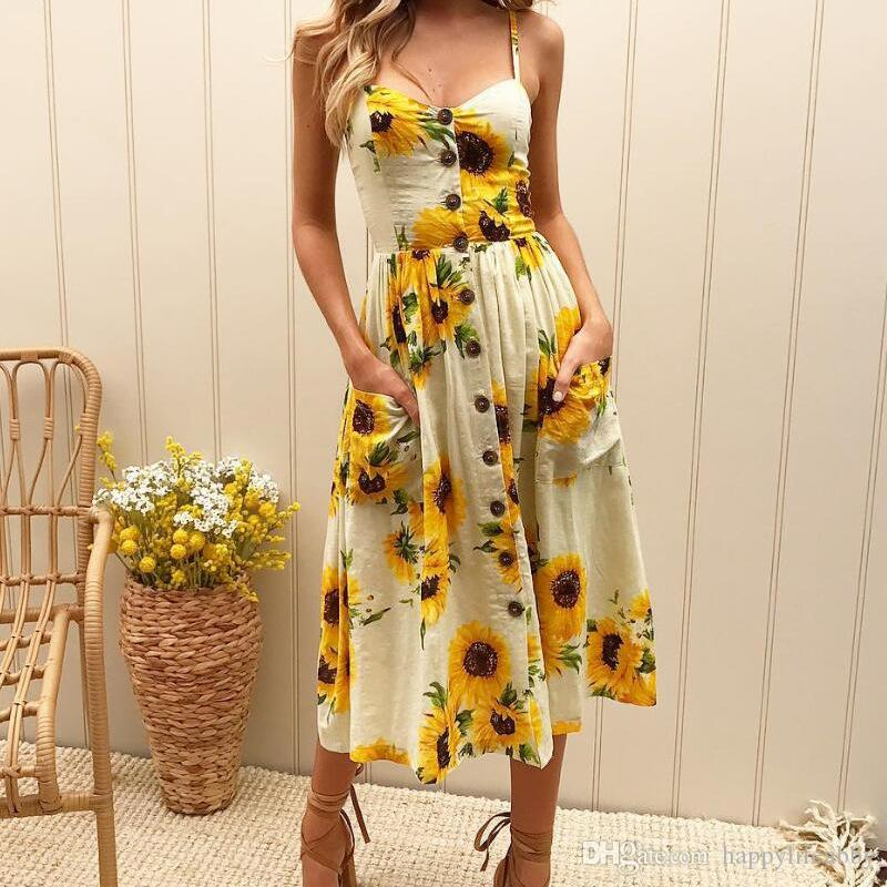 7cca8ddb1af spring summer women sunflower maxi dress side pockets lady v neck button  sleeveless floral pineapple print dress