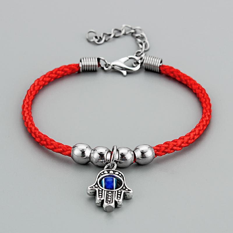 Kabbalah Palm Hamsa Resin Blue Turkish Eye Red Braided Cotton Cord Amulet Bracelets Bangle Adjustable Jewelry