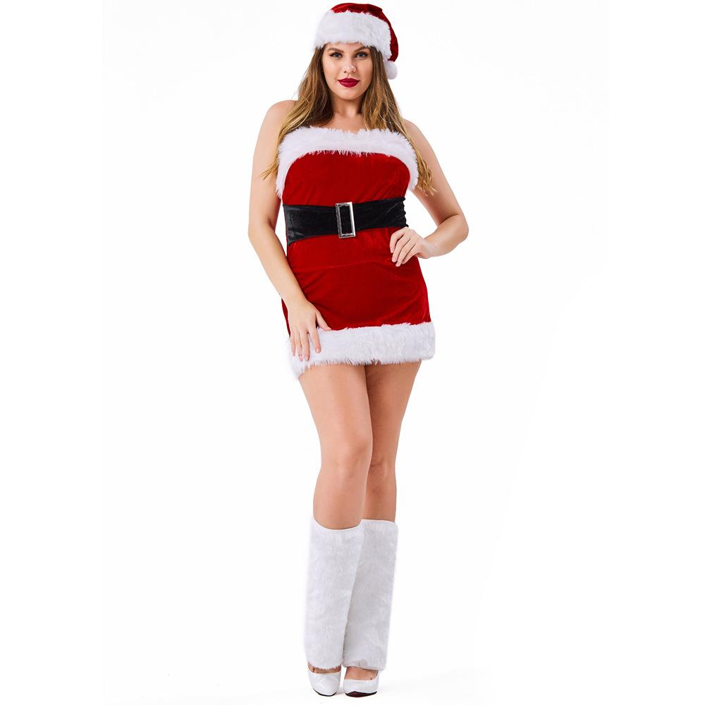 d310c53c9a5 Velvet Red Tube Christmas Dress Costumes Suit Cosplay For Woman Christmas  Party Cosplay Plus Size Couple Halloween Costumes Best Halloween Costumes  From ...