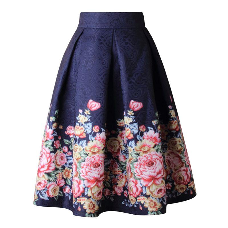 2f943f7aa 2019 Ladies Blue Flower Print Pleated Ball Gown Skater Midi Skirts Womens  Vintage Floral High Waist Saias 2019 Summer Women Skirt From Blackbirdd, ...